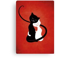 Red White And Black Cats In Love Canvas Print