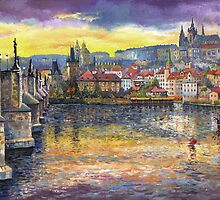 Prague Castle with the Vltava River by Yuriy Shevchuk