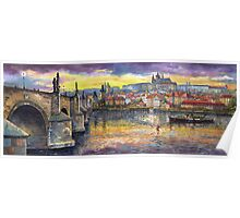 Prague Castle with the Vltava River Poster