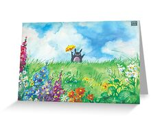 the cat in the field Greeting Card