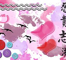 Teenage Dreams - Buttons, Hearts, Birds and Pink  by sitnica