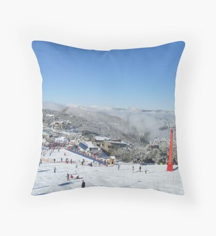 looking out at people sking Throw Pillow