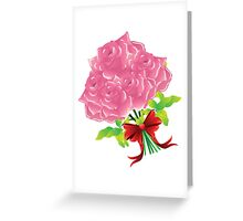 Pink roses with bow Greeting Card