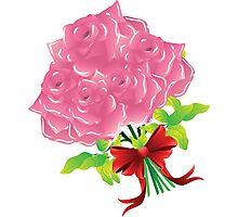 Pink roses with bow Photographic Print