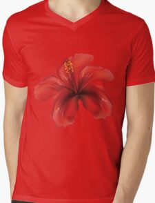 Red hibiscus Mens V-Neck T-Shirt