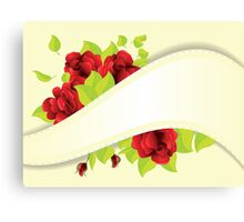 Red roses and ribbon Canvas Print