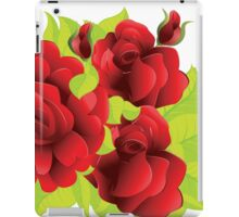 Red roses with leaves  iPad Case/Skin
