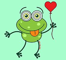 Green frog falling madly in love by Zoo-co