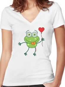 Green frog falling madly in love Women's Fitted V-Neck T-Shirt