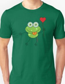 Green frog falling madly in love Unisex T-Shirt