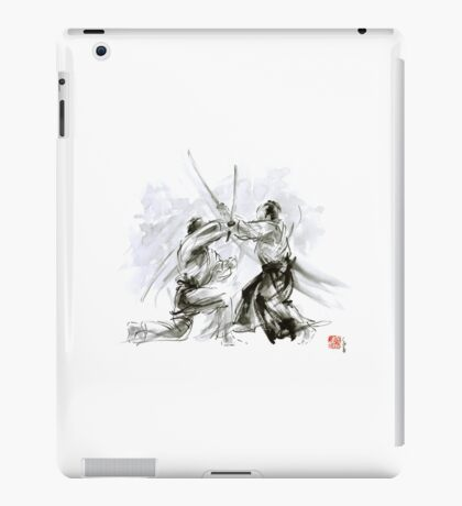 Mens gift ideas, aikido martial arts, ink drawing large poster iPad Case/Skin