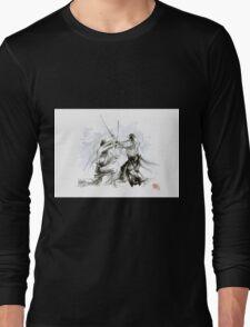 Mens gift ideas, aikido martial arts, ink drawing large poster Long Sleeve T-Shirt