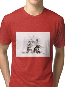 Mens gift ideas, aikido martial arts, ink drawing large poster Tri-blend T-Shirt
