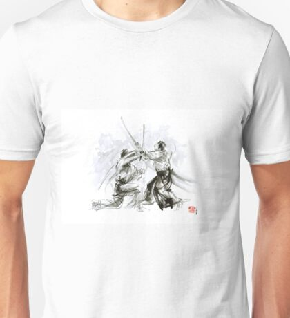 Mens gift ideas, aikido martial arts, ink drawing large poster Unisex T-Shirt
