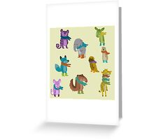 sad and indifferent animals wearing scarves Greeting Card