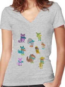 sad and indifferent animals wearing scarves Women's Fitted V-Neck T-Shirt