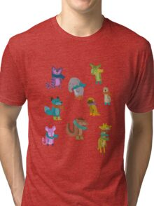sad and indifferent animals wearing scarves Tri-blend T-Shirt