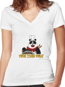 wok this way Women's Fitted V-Neck T-Shirt