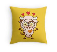 Cute cow falling madly in love Throw Pillow