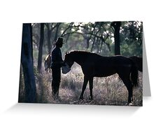 A MAN AND HIS HORSE Greeting Card