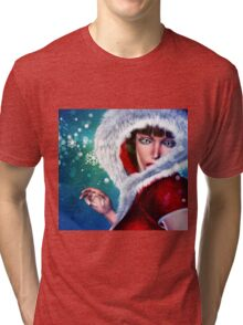 Winter girl in red outfit Tri-blend T-Shirt