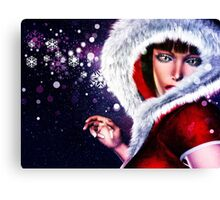 Winter girl in red outfit 2 Canvas Print