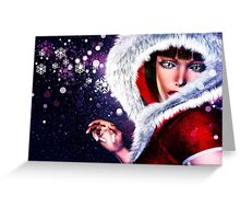 Winter girl in red outfit 2 Greeting Card