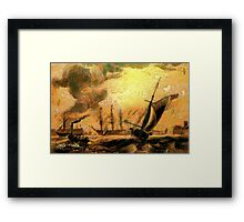 Portsmouth Harbour circa early 19th century and a Melee of Coal and Wind Driven Ships Framed Print