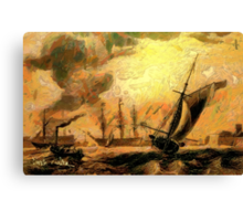 Portsmouth Harbour circa early 19th century and a Melee of Coal and Wind Driven Ships Canvas Print