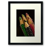 Coloured Pencils and Bubbles Framed Print