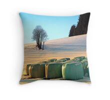 Hay bales in winter wonderland | landscape photography Throw Pillow