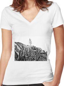Island Caprera: military archeology and acacia Women's Fitted V-Neck T-Shirt