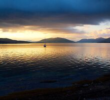 Sunset seen from Rothsay on the Island of Bute in Scotland by Gerry Allen