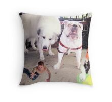 mermen and dogs Throw Pillow