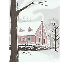 Pink house snow day. Photographic Print