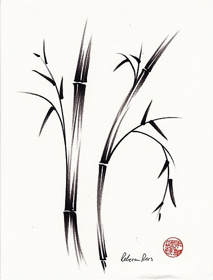 """""""Morning""""  sumi-e brush pen bamboo drawing/painting by Rebecca Rees"""