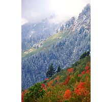 Mt. Timpanogos w/ Fall Color and Fresh Snow - 834 views Photographic Print