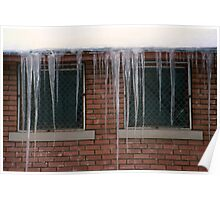 Icicles (2) - In Front of Windows Off Red Brick Bldg. Poster