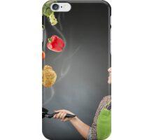 Skillful cook lady throwing veggies iPhone Case/Skin