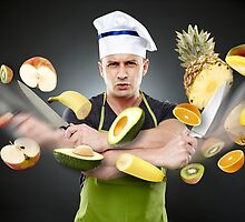 Fast cook slicing fruits in mid-air by naturalis