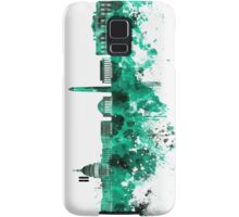 Washington DC skyline in green watercolor on white background  Samsung Galaxy Case/Skin