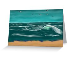 Winter Weather and Waves on the Beach Greeting Card