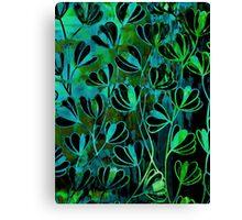 EFFLORESCENCE Bold Deep Emerald Green Turquoise Aqua Blue Floral Garden Watercolor Painting Pattern Flowers Nature Fine Art Design Canvas Print
