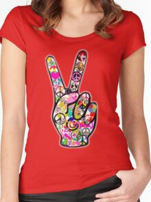 Peace Hippie Victory Fingers Women's Fitted Scoop T-Shirt