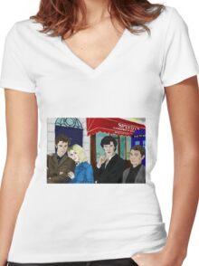 WhoLock On Baker Street Women's Fitted V-Neck T-Shirt