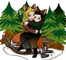 Thor and Loki Chibi Foxes  by TreeMuse