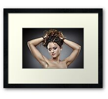 Beautiful glamour woman on gray background Framed Print