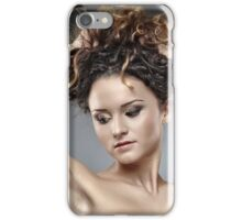 Beautiful glamour woman on gray background iPhone Case/Skin