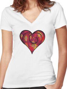 FULL OF LOVE Women's Fitted V-Neck T-Shirt