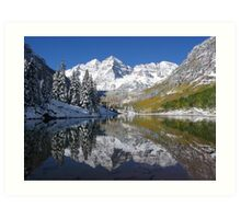 """Morning Sun on Midnight Snow, Maroon Bells, Colorado"" Art Print"